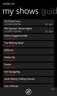 My Shows list